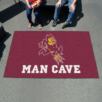 "59.5"" x 94.5"" Arizona State University Sparky Logo Maroon Man Cave Rectangle Ulti Mat"