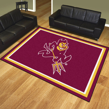 8' x 10' Arizona State University Pitchfork Logo Maroon Rectangle Rug