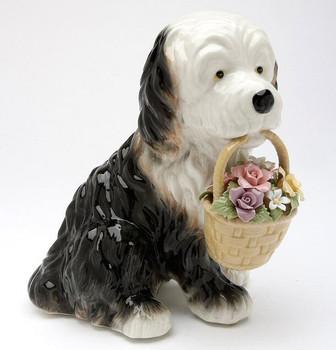 St. Bernard Dog Holding Flower Basket Porcelain Musical Box Sculpture