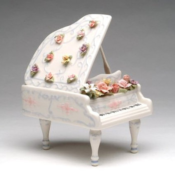 Grand Piano with Flowers Musical Music Box Sculpture