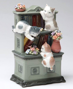 Catch Me if You Can Three Kittens Playing Musical Music Box Sculpture
