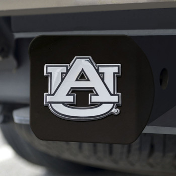 Auburn University Hitch Cover - Chrome on Black