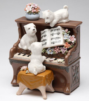 Sound of Music Puppies on a Piano Musical Music Box Sculpture