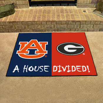 "33.75"" x 42.5"" Auburn / Georgia House Divided Rectangle Mat"