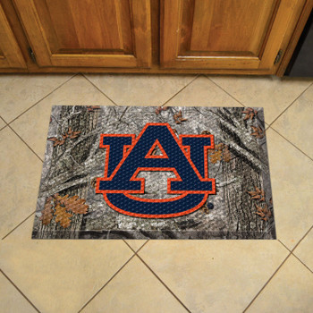 "19"" x 30"" Auburn University Rectangle Camo Scraper Mat - ""AU"" Logo"