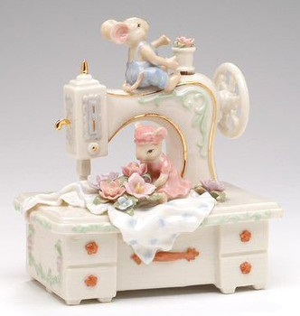 Mice with a Sewing Machine Musical Music Box Sculpture