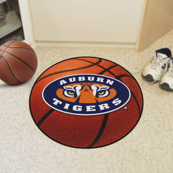 "27"" Auburn University Orange Basketball Style Round Mat"