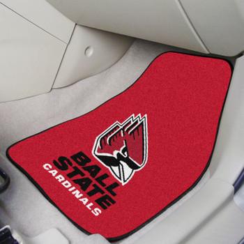 Ball State University Red Carpet Car Mat, Set of 2