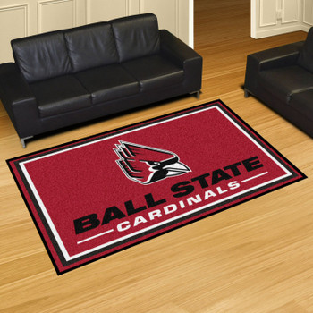 5' x 8' Ball State University Red Rectangle Rug
