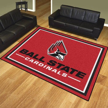 8' x 10' Ball State University Red Rectangle Rug