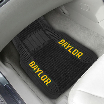 Baylor University Deluxe Vinyl & Black Carpet Car Mat, Set of 2