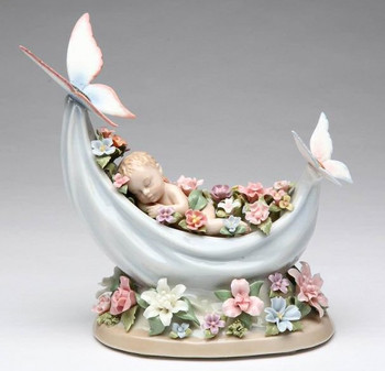 Sleeping Baby with Flowers Musical Music Box Sculpture