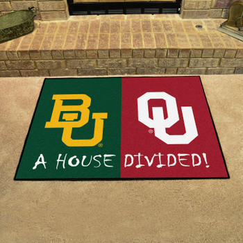 "33.75"" x 42.5"" Baylor / Oklahoma House Divided Rectangle Mat"