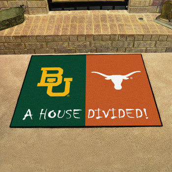 "33.75"" x 42.5"" Baylor / Texas House Divided Rectangle Mat"