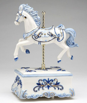 Blue Carousel Horse Musical Music Box Sculpture