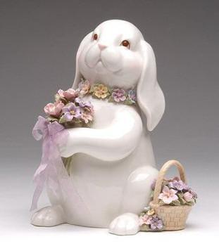 Bunny Rabbit with Flower Bouquet Musical Music Box Sculpture
