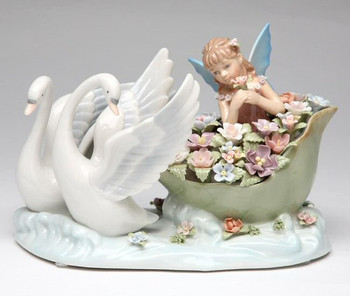 Swans with Fairy Musical Music Box Sculpture