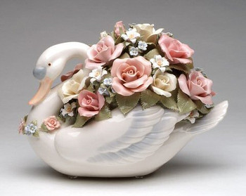 Large Swan with Roses Porcelain Musical Music Box Sculpture