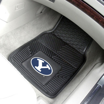 Brigham Young University Heavy Duty Vinyl Front Black Car Mat, Set of 2