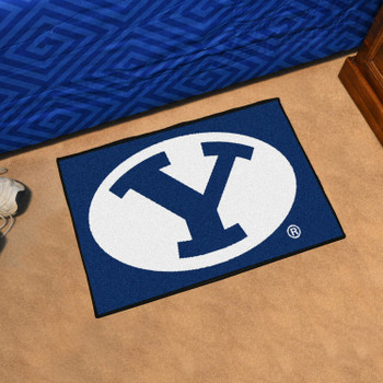 "19"" x 30"" Brigham Young University Blue Rectangle Starter Mat"