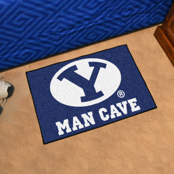 "19"" x 30"" Brigham Young University Man Cave Starter Blue Rectangle Mat"