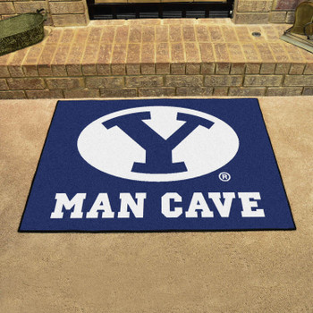 "33.75"" x 42.5"" Brigham Young University Man Cave All-Star Blue Rectangle Mat"