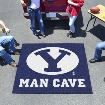 "59.5"" x 71"" Brigham Young University Man Cave Tailgater Blue Rectangle Mat"