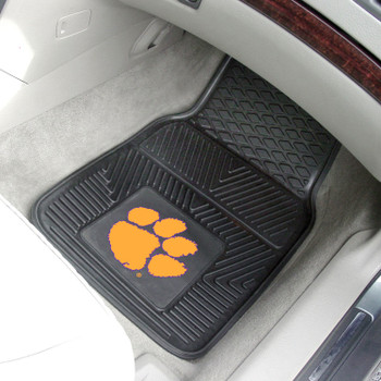 Clemson University Heavy Duty Vinyl Front Black Car Mat, Set of 2