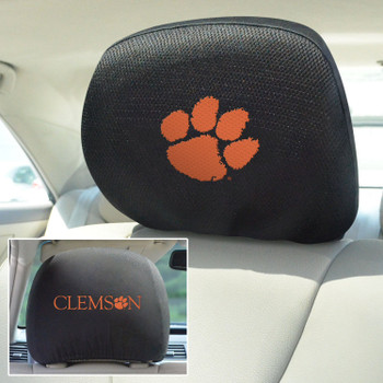 Clemson University Car Headrest Cover, Set of 2