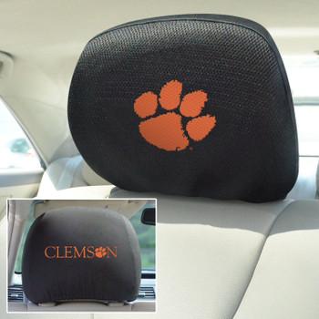 Clemson University Car Headrest Cover, Set of 2