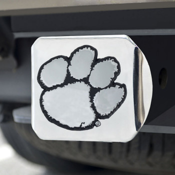 Clemson University Hitch Cover - Chrome on Chrome