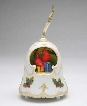 Christmas Bell with Cardinals and Presents Musical Music Box Sculpture