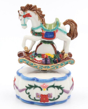 Colorful Rocking Horse Musical Music Box Sculpture