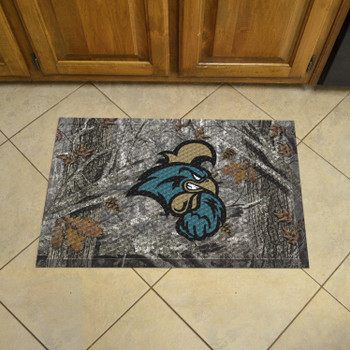 "19"" x 30"" Coastal Carolina University Rectangle Camo Scraper Mat - ""Chanticleer"" Logo"