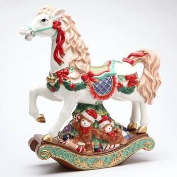 Christmas Horse Musical Music Box Porcelain Sculpture