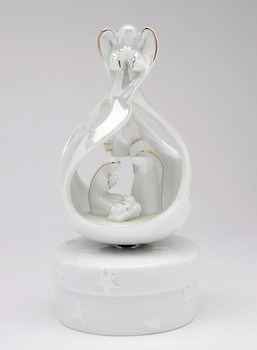 Angel Holy Family Porcelain Musical Music Box Sculpture