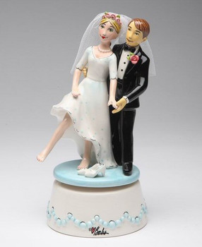 Bride and Groom Musical Music Box Sculpture