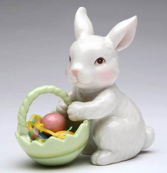 Bunny Rabbit with Easter Basket Porcelain Sculpture