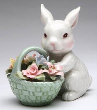 Bunny Rabbit with Flower Basket Porcelain Sculpture