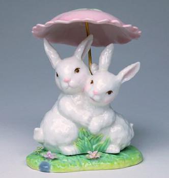 Two Bunny Rabbits Hugging Porcelain Sculpture