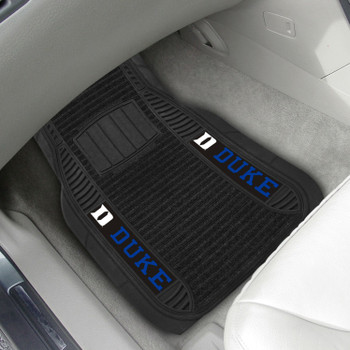 Duke University Deluxe Vinyl & Black Carpet Car Mat, Set of 2
