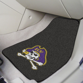 East Carolina University Black Carpet Car Mat, Set of 2