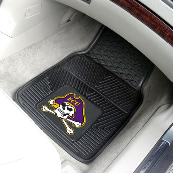 East Carolina University Heavy Duty Vinyl Front Black Car Mat, Set of 2