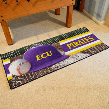 "30"" x 72"" East Carolina Baseball Style Rectangle Runner Mat"