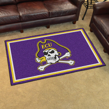 4' x 6' East Carolina University Purple Rectangle Rug