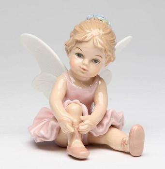 Ballerina Angel Tying Her Shoelace Porcelain Sculpture