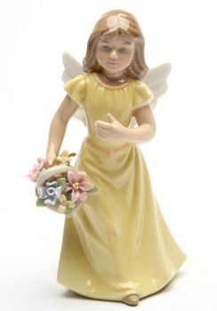 Angel Holding Flowers and Wearing a Yellow Dress Porcelain Sculpture