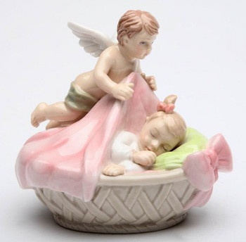 Angel Tucking a Baby Girl in Porcelain Sculpture