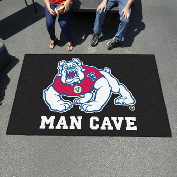 "59.5"" x 71"" Fresno State Black Man Cave Tailgater Rectangle Mat"