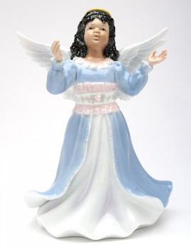 Little Lighted African American Angel Girl Sculpture